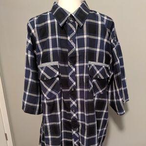 Koman Blue Button Front Shirt Size 4X Big